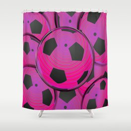 Pink Black Soccer Balls Shower Curtain