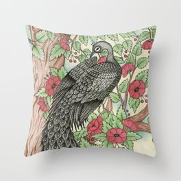 Peacock Watercolor and Ink Illustration Throw Pillow