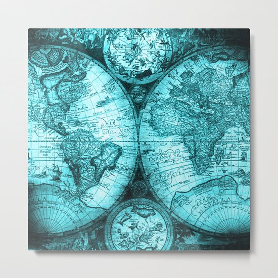 Turquoise Antique World Map Metal Print