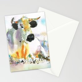 lying cow Stationery Cards