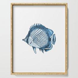 Fish coastal ocean blue watercolor Serving Tray