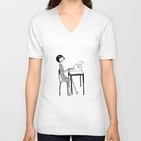 typewriter V-neck T-shirts featuring Typewriter by flapper doodle