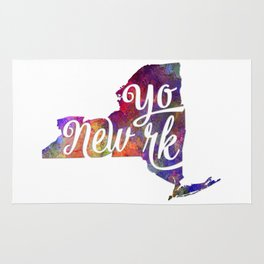 New York US State in watercolor text cut out Rug