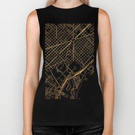 Black and gold Barcelona map Biker Tank