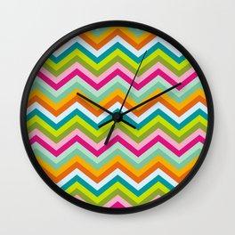 Bright neon chevron stripes Wall Clock