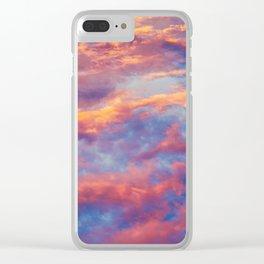 Beautiful Pink Orange Blue Purple Cotton Candy Clouds Fairytale Sky Clear iPhone Case