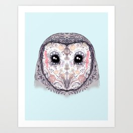 Sugar Skull Labyrinth Owl Art Print