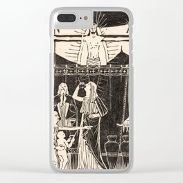 Drinking people under crucified Christ, Mathieu Lauweriks, 1935 Clear iPhone Case