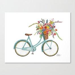 Vintage Blue Bike Canvas Print
