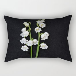 Lily of the Valley pair on Black Fine art floral print Rectangular Pillow