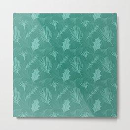 Green Pine Tree Leaf Pattern Metal Print