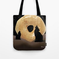 murakami Tote Bags featuring Donut Howl by Geni