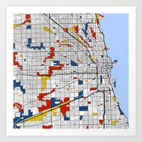 chicago map Art Prints featuring Chicago by Mondrian Maps