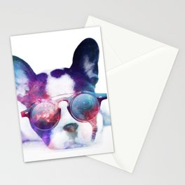 Space Frenchie  Stationery Cards