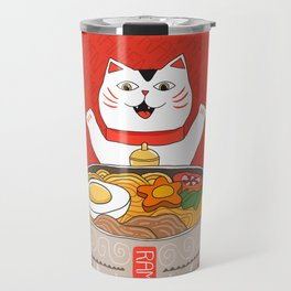 Liter of Ramen. Japanese soup and Manekineko cat. Travel Mug