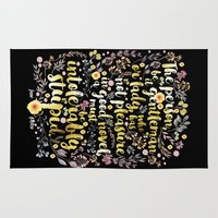 jane austen Area & Throw Rugs featuring Jane Austen - Intolerably Stupid Gold Foil by Evie Seo