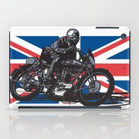 cafe racer iPad Cases featuring Norton TT Racer by Ernie Young
