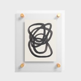 Mid Century Modern Minimalist Abstract Art Brush Strokes Black & White Ink Art Spiral Circles Floating Acrylic Print