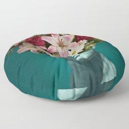 Sculpture Flower Collage Floor Pillow
