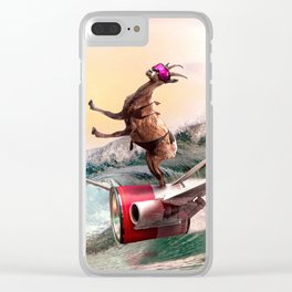 Funny Surfing Goat Clear iPhone Case