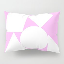White shapes on a bubblegum background Pillow Sham