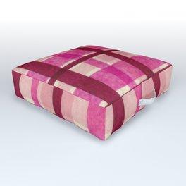 Tissue Paper Plaid - Pink Outdoor Floor Cushion