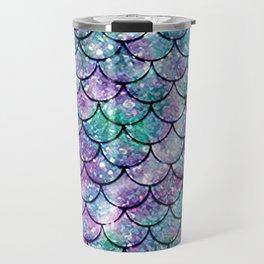 Mermaid Pattern - Aqua & Purple Glitter Texture Travel Mug
