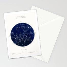French January Star Map in Deep Navy & Black, Astronomy, Constellation, Celestial Stationery Cards