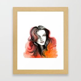 Red and Orange Flame Hair Framed Art Print