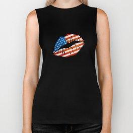 American Flag Lips Biker Tank