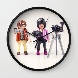 Two photographers. Playmobil Wall Clock