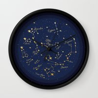 constellations Wall Clocks featuring Constellations by Cina Catteau
