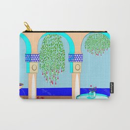A Mediterranean Garden with Fountain Carry-All Pouch