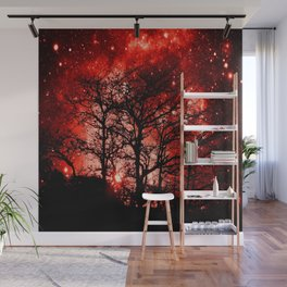 black trees red space Wall Mural