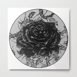 """""""Rose And Thorns"""" illustration by Maxime Potvin Metal Print"""