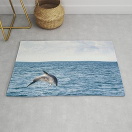 Leaping Wild Dolphin - Retro style illustration Rug