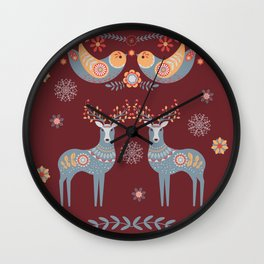 Nordic Winter Red Wall Clock