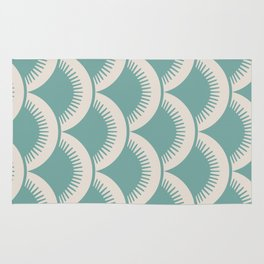 Japanese Fan Pattern Foam Green and Beige Rug