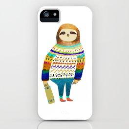 Hipster sloth skateboarder iPhone Case