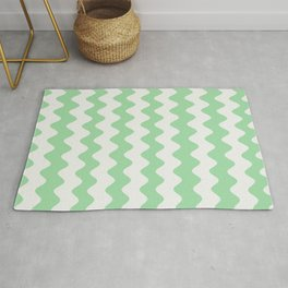 Pastel Mint Green & Linen White Wavy Vertical Rippled Stripe Pattern Pairs to 2020 Color of the Year Rug