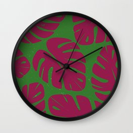 Monstera Leaf Print 4 Wall Clock