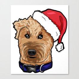 Irish Soft Coated Wheaten Terrier Dog Christmas Hat Canvas Print