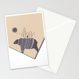 Northern bear on light beige color background Stationery Cards