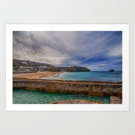 Portreath Harbour and Beach Art Print