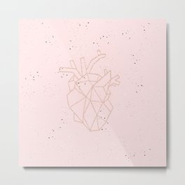 pink speckled with rose gold geometric heart Metal Print