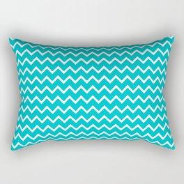 Teal Turquoise Blue Chevron Zigzag Pattern Rectangular Pillow