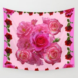 CONTEMPORARY  RED & PINK ROSES PINK PATTERNs Wall Tapestry