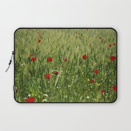 Red Poppies Growing In A Corn Field  Laptop Sleeve