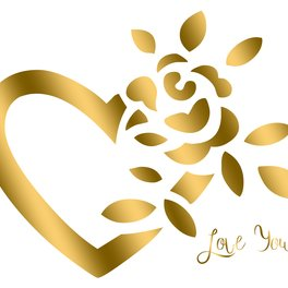 Notebook - Gold Valentine Heart and Rose - Boutique Bijou