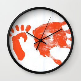Palm and feet `s print Wall Clock